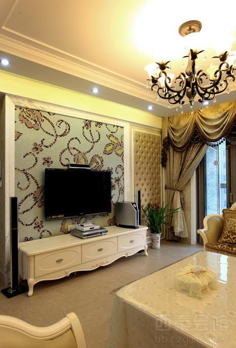 宜宾93平米小户型欧式庄园风格设计客厅loft装修效果图案例