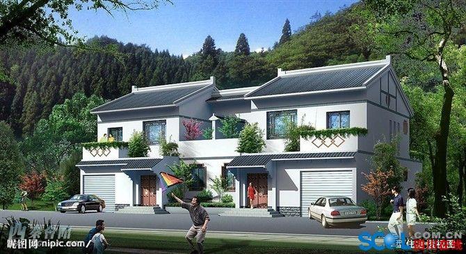 来几张新农村建设住宅设计效果图高清图片